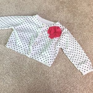 White Cardigan with Black Polka Dots 6-9